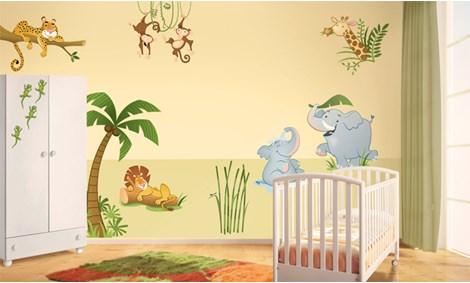 Adesivi murali giungla stickers e decorazioni leostickers - Decorazioni murali per camerette bambini ...